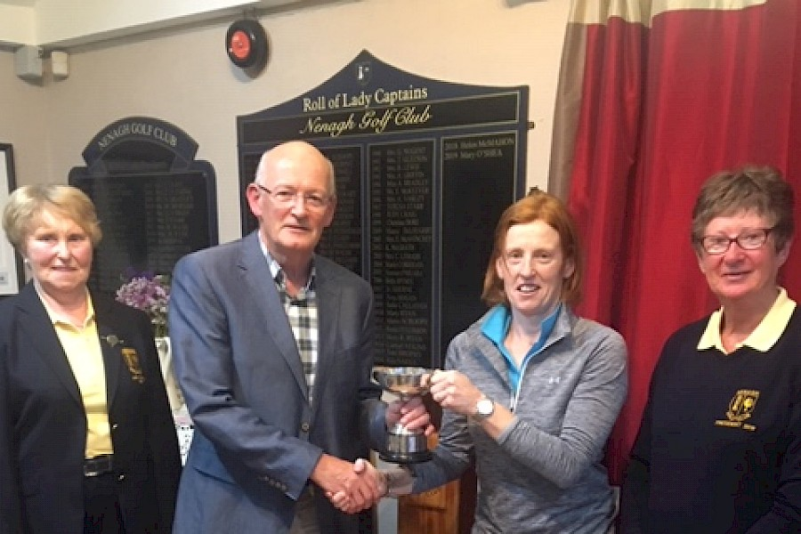 Deirdre Hughes winner of the 2019 Club Singles Trophy sponsored by Scroope Insurances